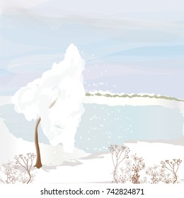 Winter landscape with frozen lake, snowdrifts,cloudy sky,snowbound tree,dry herbs