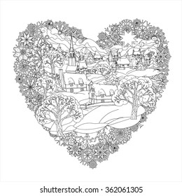 Winter landscape in heart shape frame of snowflakes, Black and white. Zentangle patters.  The best for your design, textiles, posters, coloring book