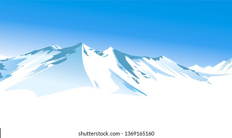 Winter landscape with high mountains