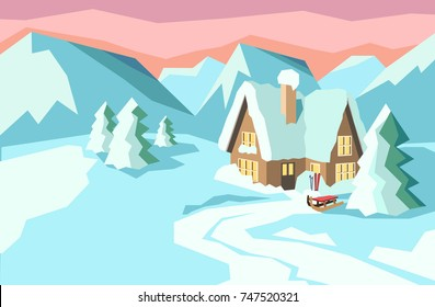 Winter landscape with house in mountains covered with snow