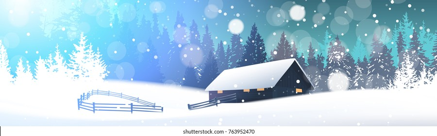 Winter Landscape With House In Snowy Forest Horizontal Banner Flat Vector Illustration