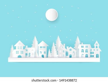 winter landscape with houses and moon.Clouds and Moon on sky vector illustration.