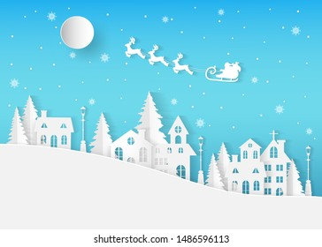 Winter landscape with houses and trees.Santa Claus on the sky in winter season.Merry Christmas and Happy New Year. paper art design.Vector EPS 10.