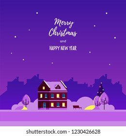 Winter landscape with living house, snowdrifts, trees and city silhouette on background. Christmass greeting card design. Flat style illustration.