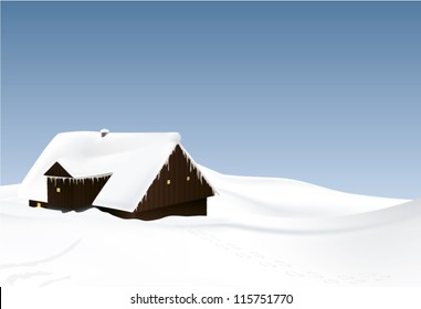 winter landscape with log house