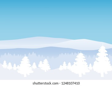 Winter landscape, minimal style. Horizon, panorama, snow-covered trees. Ate, pine. Vector, illustration, isolated, template, poster, banner