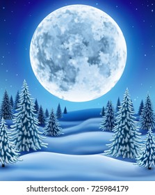 Winter landscape with moon, background for christmas and new year greeting, illustration with pine trees in snow, EPS 10 contains transparency.