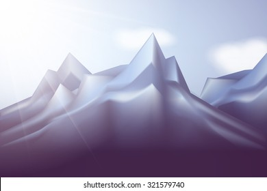 Winter landscape with mountains and blue sky. Nature Vector Illustration