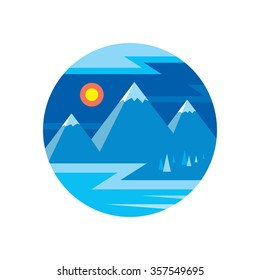 Winter landscape with mountains, lake, trees, sun and cloud - vector creative illustration in flat style design. Nature in blue color. Mountaineering concept art.