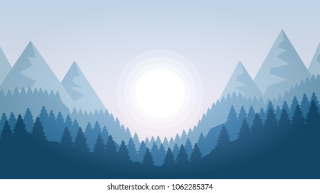 Winter landscape with mountains,  sunshine and woods. Coniferous forest hills silhouette template with sun . Terrain panorama background
