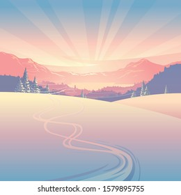 Winter landscape, a panorama of snowy mountains and sun rays at sunrise, created by imagination in vector graphics format.