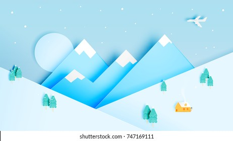 Winter landscape with paper art style and pastel color scheme vector illustration