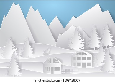 Winter landscape in paper style. Mountains, trees and houses. Layered cut out paper postcard. Vector illustration.