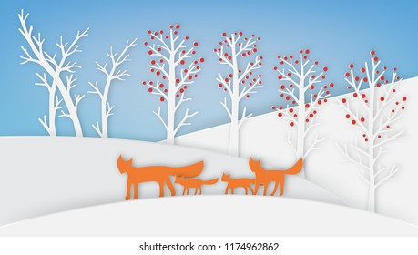 Winter landscape with red fox family and tree, paper art style.
