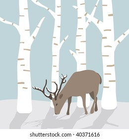 winter landscape with reindeer in the snow