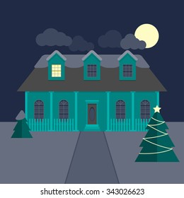 Winter landscape with residential house and Christmas tree at night in flat design.