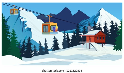 Winter landscape with ropeway station and ski cable cars. Snowy country scene vector illustration. Ski resort concept. For websites, wallpapers, posters or banners.