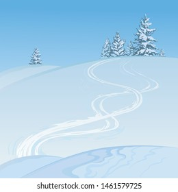 The winter landscape, scene of the snow-covered hill with a ski trace and fir-trees created on imagination in a format of vector graphics.