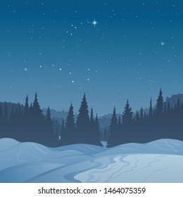 The winter landscape, scene of snow-covered hills and silhouette of the coniferous forest against the background of the star sky created on imagination in a format of vector graphics.