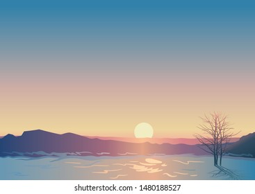 Winter landscape, scene of snowy field with silhouette of wood and mountains against the background of sunset, created by imagination in the format of vector graphics.