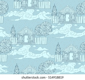 Winter landscape seamless pattern with ornate houses and trees. Hand drawn winter time town.