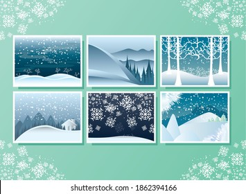 winter landscape, set greeting cards with snowflakes snowfall trees and moutains vector illustration