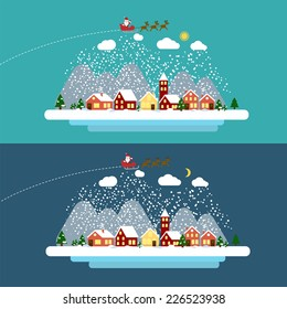 Winter landscape with small village, Christmas tree and flying sleigh with reindeer and Santa. Vector illustration in flat design style. EPS 10