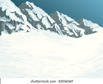 Winter landscape with snow covered mountains