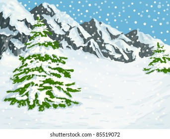 Winter landscape with snow covered mountains and fir trees