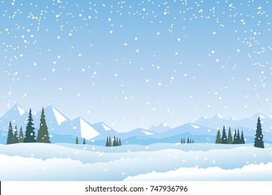 Winter Landscape, Snow Mountains, Fir Trees Forest, Fields. Snowfall vector scene. Mountain view. Winter Holidays background, banner or greeting card template.
