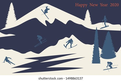 Winter landscape - snow, pines, spruce, mountains - flat style, blue white background - illustration, vector. Happy New Year 2020.