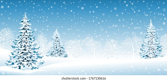 Winter landscape. Snow-covered forest, spruce trees and trees covered with snow. Snow, snowflakes. Winter scene.