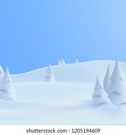 Winter landscape with snowdrifts and snowy fir trees. Vector 3d illustration. Seasonal nature background. Frosty snow hills. Game art concept.