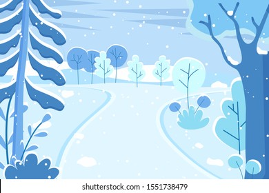 Winter landscape with snowfall and snowing weather. Blizzard in rural area, seasonal frost in woods with trees and bushes covered with snow. Empty road in abandoned park. Vector in flat style
