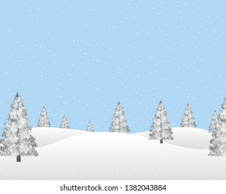 Winter landscape in the snowfall. Snowy pine trees and hills. Light blue sky in the background.