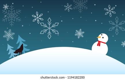 winter landscape with a snowman