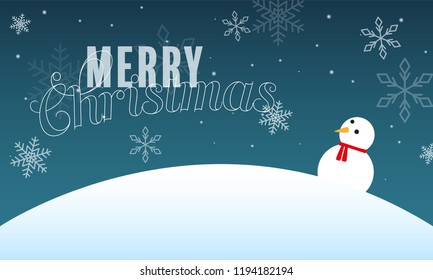 winter landscape with a snowman and a greeting text. Use it for christmas cards or some backgrounds