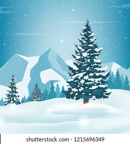Winter landscape with snowy pine trees and mountains. Holiday backrground. Vector illustration