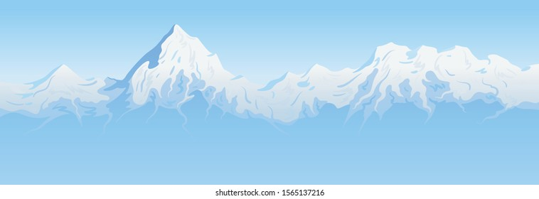 Winter landscape, stage of mountain peaks against the background of blue sky, created by imagination in the format of vector graphics