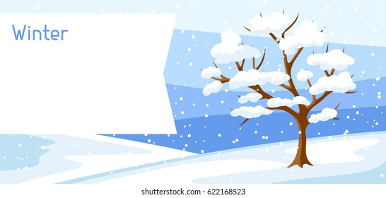 Winter landscape with tree and snow. Seasonal illustration.