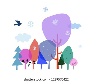 Winter landscape with trees and snow - banner for the Christmas card or web design. Vector graphic illustration