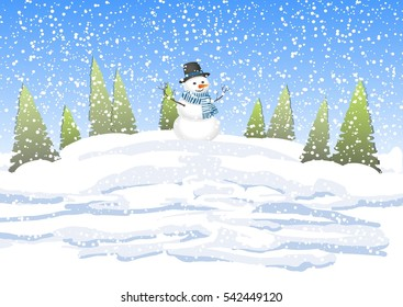winter landscape with trees and snowman. Winter background with a snowman