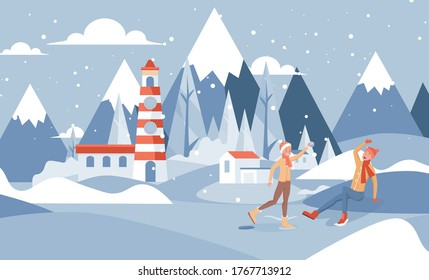 Winter landscape vector flat illustration. Happy smiling boy and girl in warm clothes playing snowballs outside the winter near the lighthouse. Outdoor activities during Christmas holidays concept.