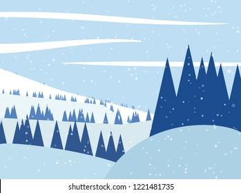 Winter landscape. Vector illustration