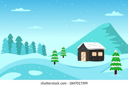 Winter landscape in the village background with mountain and tree panoramic vector illustration