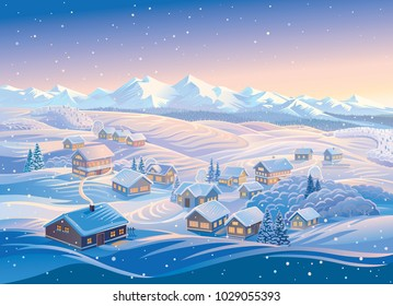 Winter landscape with village and hills, montane forests in the snow. Vector illustration.