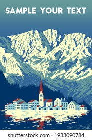 Winter landscape with village on the first plan and mountains in the background. Handmade drawing vector illustration. Retro style. Flat Design.