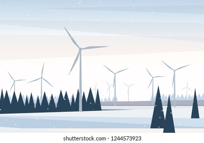 Winter landscape with wind turbines and trees on a snow covered field. Vector illustration in flat style for web page design or simple background