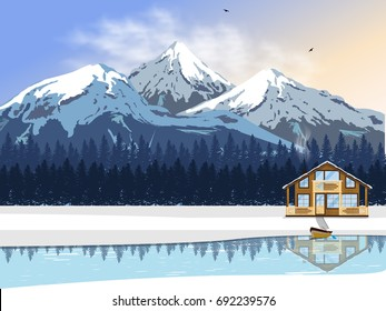 Winter landscape. A wooden house by the river with a boat. High snow-capped mountains and forest on the horizon. Vector illustration for winter holidays.