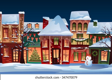 Winter landscape.Christmas background with fairy tale houses.  Snowy town at holiday eve.Vector illustration.
